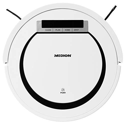 MEDION Saugroboter MD18600 (90 Min. Laufzeit, autom. Rückkehr zur Ladestation, Direktabsaugung von Hartböden, kurzflorige Teppiche, Fliesen, Laminat, Tierhaare optimiert, Modell 2018) weiß - 5