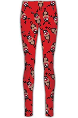 Fashion Star Girls Christmas Ginger Bread Reindeer Leggings Baby Reindeer Snowflake Red Age 11/12 years