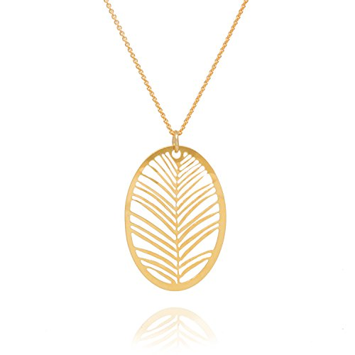 David Aubrey OLG215 - Collar para mujer con colgante ovalado con corte de tijera, plata chapada en oro de 18 quilates