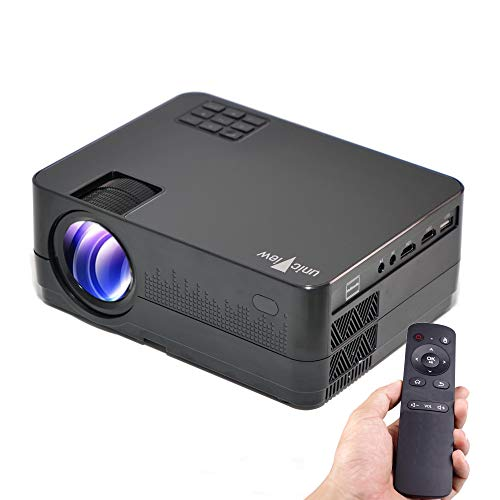 Proyector Full HD 1080P, Unicview HD320 (2020 Nuevo), Proyector Barato 3.500 lúmenes Youtube USB Mirroring Portátil LED Cine en casa 1920x1080 HDMI USB VGA para PS4,Xbox,Switch, 720P Nativo (Negro)