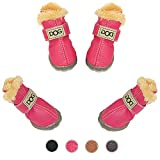 WINSOON Dog Australia Boots Pet Antiskid Shoes Winter Warm Skidproof Sneakers Paw Protectors 4-pcs Set (Size 3, Pink)
