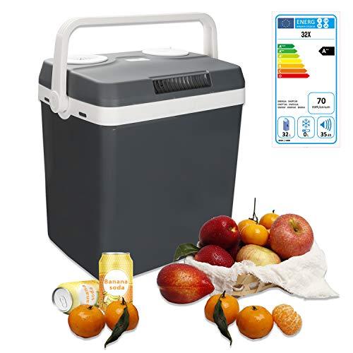 wolketon Kühlbox Thermo-elektrische, 32 Liter, WÄRMT und KÜHLT, tragbare Mini-Kühlschrank mit Tragegriff, ECO-Modus, 12 V und 230 V für Auto, Boot, Camping, Familie