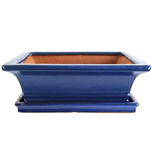 Bonsaischale mit Untersetzer 25.5x19.5x8.5cm Blau Rechteckig Glasiert