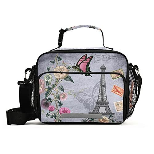 Naanle Bolsa de almuerzo de torre Eiffel con correa ajustable para el hombro aislada a prueba de fugas, caja de picnic con doble cremallera, bolsa de almuerzo abierta para oficina, trabajo, escuela