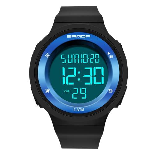 A ALPS Uhr Herren,Digital Sport Schwarz Uhren für Männer mit Wecker/Kalender/Led-Licht/Countdown/Stoppuhr 5ATM wasserdichte Silikon Armband Armbanduhr,Outdoor Digitaluhr