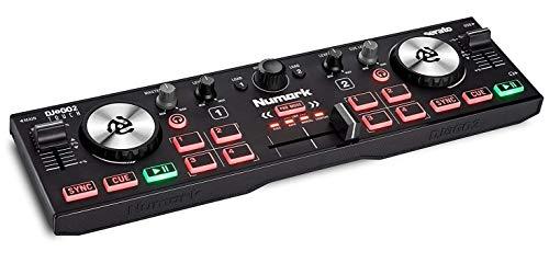 Numark DJ2GO2 Touch - Controlador DJ USB compacto de 2 canales para Serato DJ con mezclador / crossfader, interfaz de audio y jog wheels de sensibilidad táctil