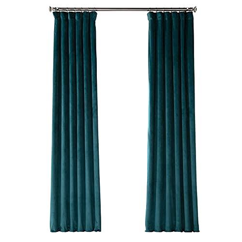 HPD Half Price Drapes VPYC Heritage Plush Velvet Curtain (1 Panel), 50 X 84, Deep Sea Teal