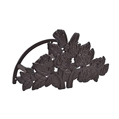 Garden Hose Holder Hanger Rose Bush Pattern Rust Brown Cast Iron 13.25  Wide