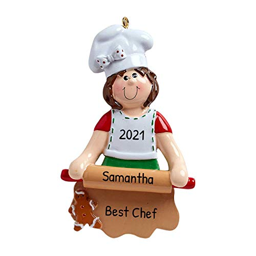 Personalized Loves to Bake Christmas Tree Ornament 2019 - Chef Chief Cooker White Ribbon BBQ Spatula Best Restaurant New Cuisine Taste Profession Job Year - Free Customization