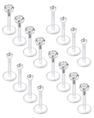 LAURITAMI 16pcs Piercing Tragus Pendientes Pernos Acrílico UV Flexible Bioflex 8mm 16G Labio Labret Medusa Barras CZ Diamante Ópalo Piercing Joyas