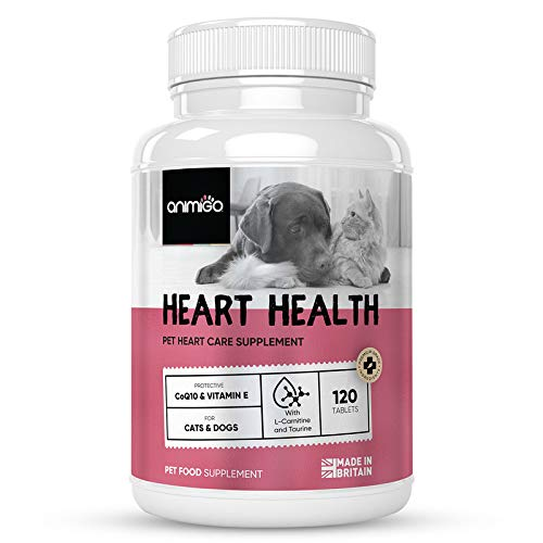 Animigo Heart Health - 120 Tablets (1-4 Month Supply) - Heart Vitamins Supplement For Dogs & Cats, Heart Support Treatment Vitamin Complex For Dog & Cat Health, Great For Small, Medium + Large Pets