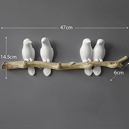 LXSnail Simple style européen frais en trois dimensions oiseau manteau crochet Creative salon chambre entrée porche décoration murale crochet (blanc) Porte-manteaux (taille : 47 * 6 * 14.5cm)
