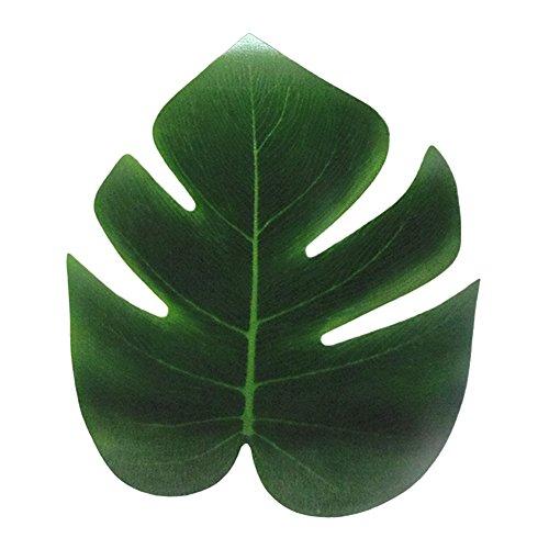 Zhouba Lot de 12 feuilles artificielles de palmier tropicaux pour décoration de maison, jardin, taille S (vert)