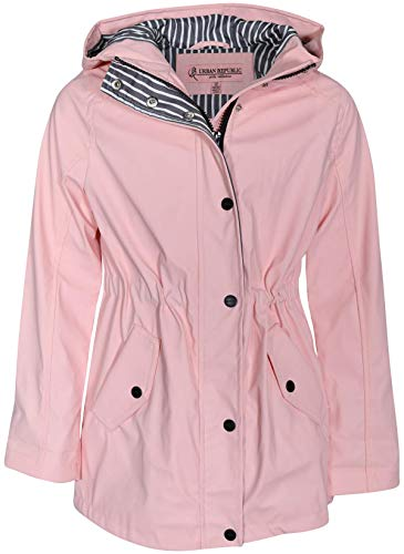 Urban Republic Girls Anorak Vinyl Raincoat with Hood and Cinched Waist, Baby Pink, Size 14/16