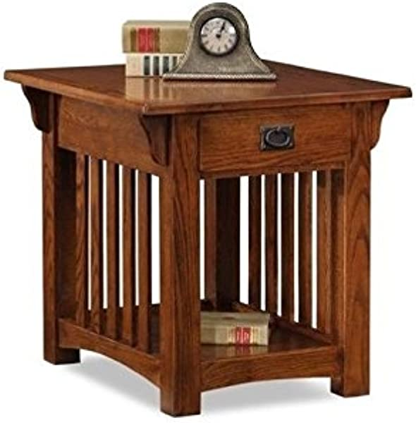 BOWERY HILL Mission End Table With Storage Drawer And Shelf In Oak