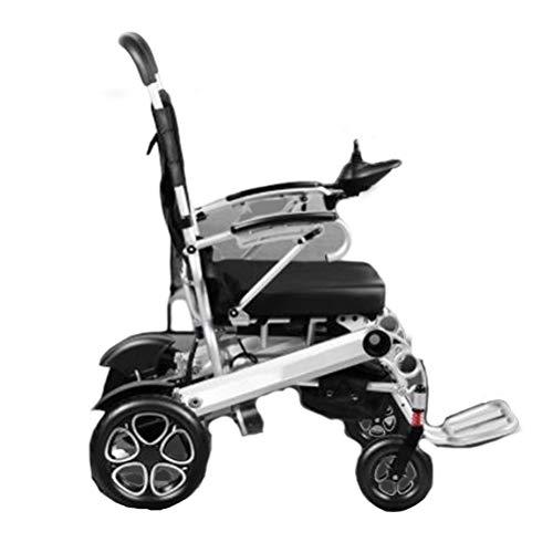 SPAQG elektrische opvouwbare aluminiumlegering transport rolstoel, massieve banden, openen en sluiten armleuningen, 17,3 inch zitting, geschikt voor mensen met been problemen