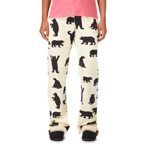 Hatley Black Bears On Natural - Parte de abajo de pijama para mujer, Marfil, S