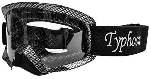Typhoon Motocross Goggles Dirt Bike ATV Goggles Motorcycle Off Road Unisex Adult and Youth - Carbon Fiber w/Clear Lens