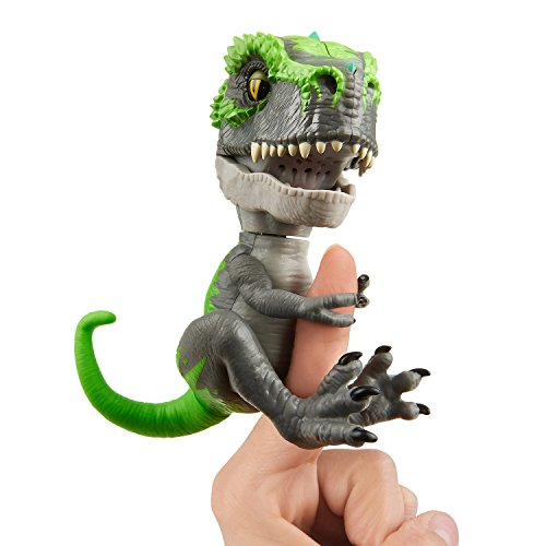 Untamed T-Rex by Fingerlings  – Tracker (Black/Green) - Interactive Collectible Dinosaur - By WowWee
