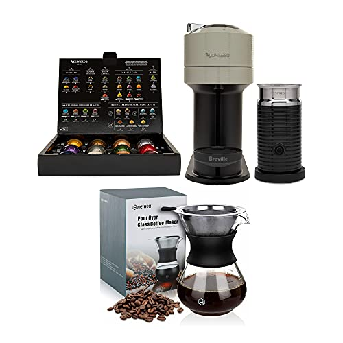 Nespresso BNV550GRY1BUC1 Vertuo Next Coffee and Espresso Machine (Light Gray) Bundle with 14oz Pour Over Coffee Maker Set (2 Items)