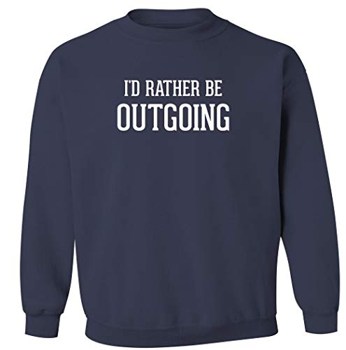 Sudadera con cuello redondo para hombre, diseño con texto en inglés'I'd Rather Be Outgoing', Marino, X-Large