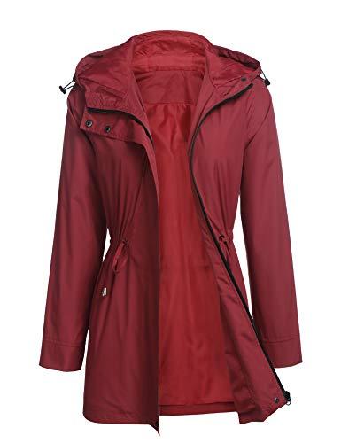Womens Autumn Spring Lightweight Long Rain Jacket Windbreaker Plus Size Active Outdoor Raincoats (Wine Red, X-Large)