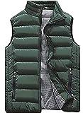XinYangNi Men's Packable Puffer Down Vest Ultralight Warm Outdoor Sleeveless Jacket Army Green US L