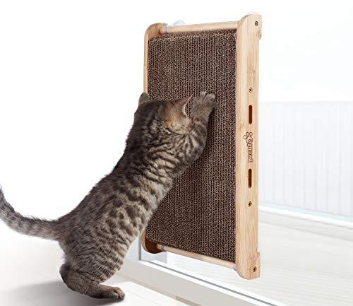 Pecute Rascador para Gatos con Catnip Alfombrillas de Cartón Soporte de Bambú Natural con 4 Fuertes Ventosas, Rascador de Gato Reemplazable