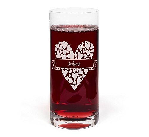 printplanet® Glas mit Namen Andreas graviert - Leonardo® Trinkglas mit Gravur - Design Herzbanderole