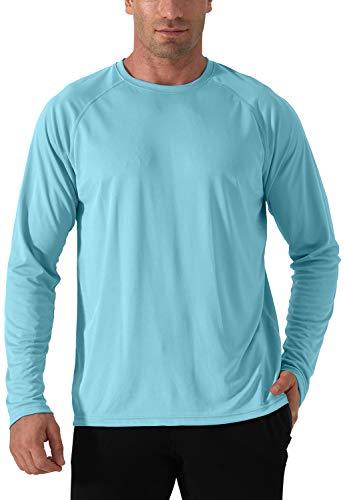 Herren UPF 50+ UV Sonnenschutz Shirt Langarm Camping Hiking Shirts UV Protection T-Shirt Rash Guards UV Schutz T Shirt Sun Protection Shirt Herren Outdoor Surf Laufen Angeln Shirts Blau