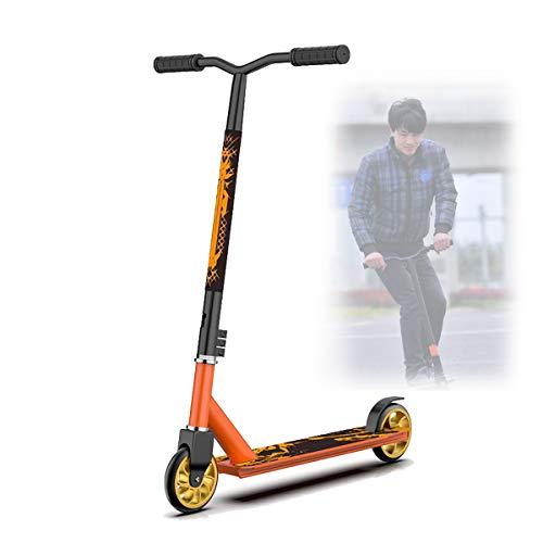 Scooters Escolares,Dos Ruedas Scooters Competitivos para NiñOs Adolescentes,Scooters de Pedales Extremos con Cool Stunts/OperacióN FáCil,Orange Aluminum Wheel Core