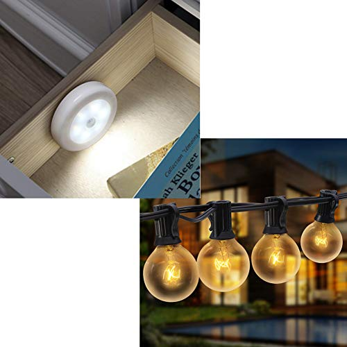 AMIR (Upgraded Version) Motion Sensor Light (White - Pack of 6) | AMIR Upgraded Outdoor String Lights, 25Ft G40 Globe Patio Lights with 27 Clear Bulbs (2 Spare)