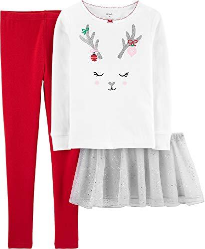 Carter's Girls' 3-Piece Tutu Pajama Set (2T, White/Red/Reindeer)