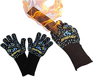 BlueFire Pro Oven Gloves BBQ Gloves ? Grilling Big Green Egg & Fireplace Accessories. Cut Resistant Forearm Protection -10...