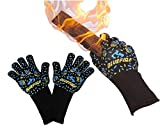 BlueFire Gloves BBQ Grill Firepit Oven Mitts Heat Resistant 932 Degrees F Lab Certified Professional Grade Kevlar (Large, Black)