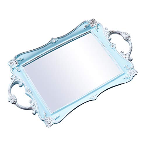roomfitters Decorative Mirrored Vanity Tray, Bathroom Makeup Jewelry Organizer, 15.4 x 9.3 inch -Antique French Vintage Look