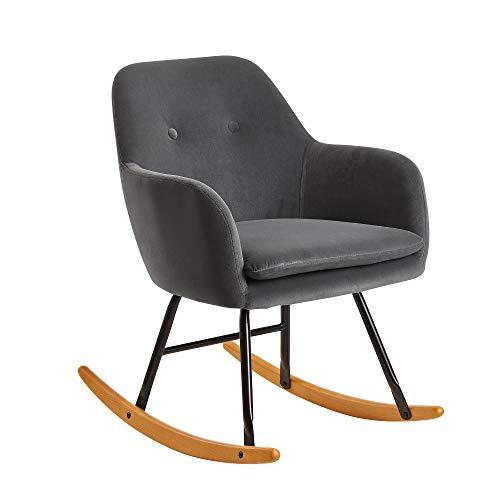 FineBuy Schaukelstuhl Dunkelgrau 71x76x70cm Design Relaxsessel Samt/Holz | Schwingsessel mit Gestell | Polster Relaxstuhl Schaukelsessel | Moderner Schwingstuhl Sessel