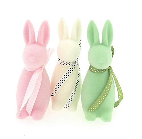 MC Trend 3er Set Osterhasen Hasen Figur mit Schleife Osternest Ostern Geschenk-Idee