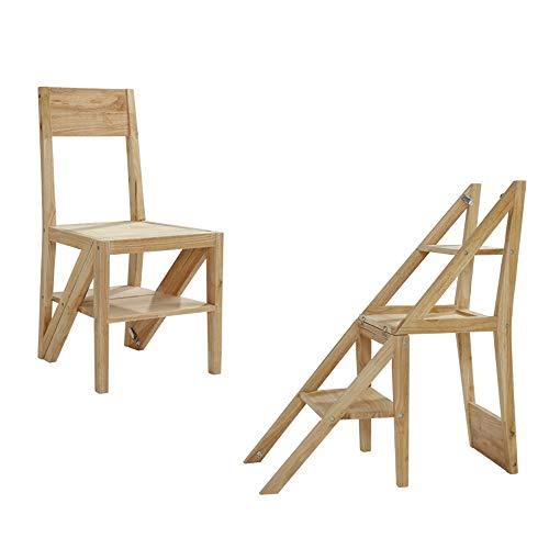 HJCA stoel moderne minimalistische huis vouwstoel Nordic massief hout stoel creatief rack multifunctionele klimladder massief hout te maken functionele multifunctionele stoel ladder plank - hout kleur multi-