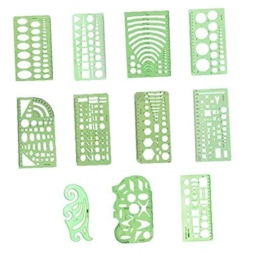 Geométrica Plantillas Dibujos Verde De Plástico Transparente Reglas Las Reglas Geométricas De Medición Plantillas De 11 Piezas