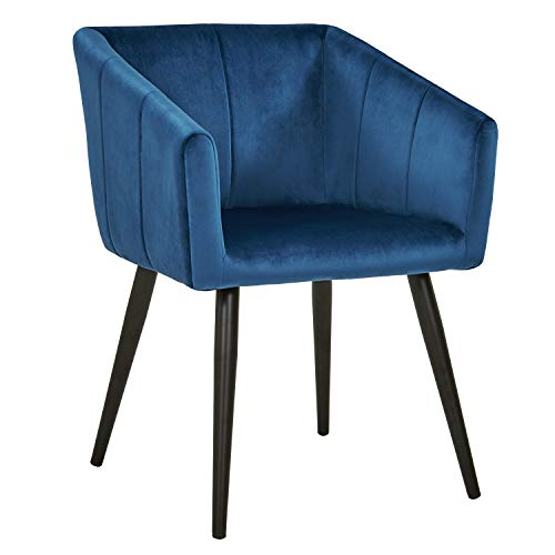 Esszimmerstuhl aus Stoff (Samt) Farbauswahl Retro Design Stuhl mit Rückenlehne Sessel Metallbeine Duhome 8065, Farbe:Dunkel Blau, Material:Samt
