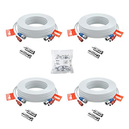 Anlapus 4X 18.3 Meter 60ft BNC Kabel Video Strom Verlängerungskabel für CCTV Überwachungskamera DVR System, mit BNC RCA Adapter