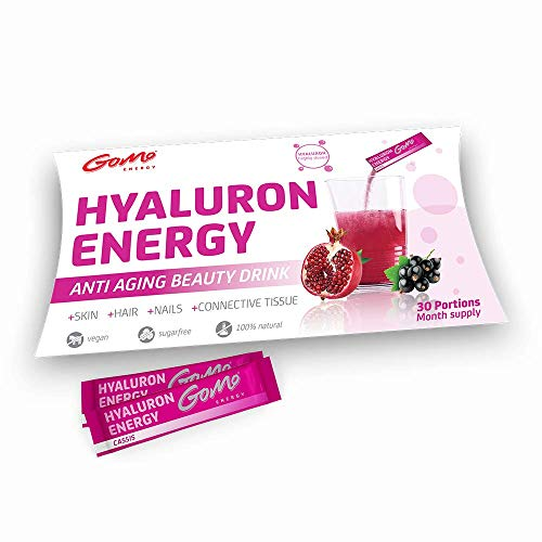 GoMo ENERGY® Anti Aging Beauty Hyaluron Drink│350mg vegane Hyaluronsäure +Zink +Magnesium +hochdosierte B-Vitamine +Vitamin C│Straffe Haut, stabile Nägel, festes Bindegewebe│30 Portionen Monatspackung