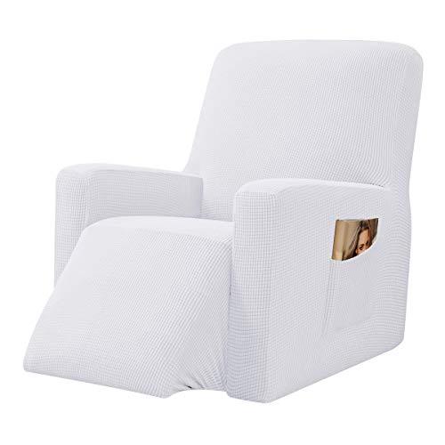CHUN YI 1-Stück Jacquard Husse, Überzug, Bezug für Fernsehsessel, Relaxsessel, Liege Sessel, Schaukelstuhl, Relaxstuhl, Recliner Sessel, mehrere Farben (Weiß)