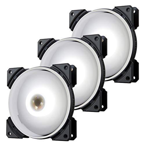 GOLDEN FIELD MH - Ventilador de refrigeración LED silencioso de 120 mm para ordenador y PC (triple paquete, blanco)