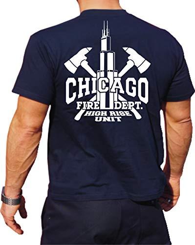 T-Shirt navy, Chicago Fire Dept. High Rise Unit mit Äxten und Willis Tower L