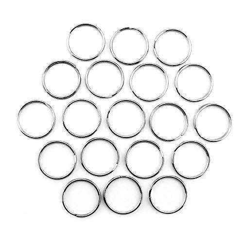 RUBY - 150 Anillas de metal, Bases de Llaveros para Artesanía, Organizador de Llaves (Plateado, Ø 25mm)