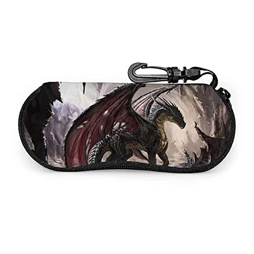 AOOEDM Estuche para anteojos Dragon Art con mosquetón, estuche blando para gafas de sol con cremallera de neopreno portátil ultraligero