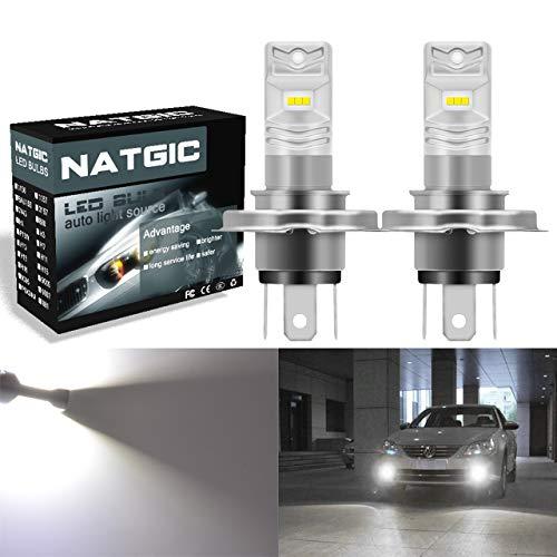 NATGIC H4 Ampoules LED antibrouillard blanches Xenon 1700LM CSP pour projecteur antibrouillard avant, 12V-24V (paquet de 2)