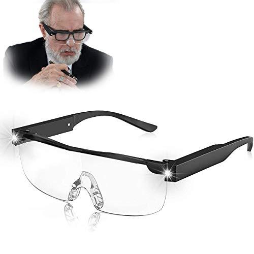 160% Lupenbrille mit Licht für Brillenträger 2 Leds Vergrößerungsbrille Freihändig Blaulichtfilter-Lesebrille als Lese- und Sehhilfe für beim Lesen, Nähen, Basteln, Reparieren Senioren